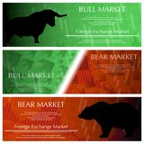 Three market banners. Set of three market exchange banners with graphs and sample text Stock Photography