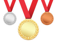 Set of three medals isolated on white. Stock Image