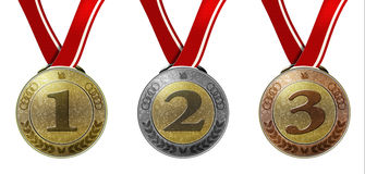 Set of three medals with numbers and ribbon Stock Photos