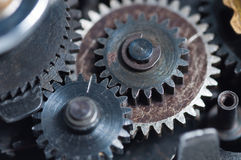 Set of three meshed gears Stock Image