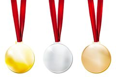 Set of three metal medals - gold, silver, bronze Stock Photo
