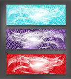 Set of three, modern banners  - blue, violet, red Royalty Free Stock Image