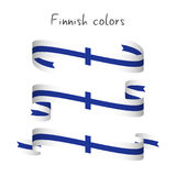 Set of three modern colored vector ribbon with the Finnish color Royalty Free Stock Photo