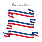 Set of three modern colored vector ribbon with the French tricol Royalty Free Stock Photo