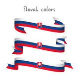 Set of three modern colored vector ribbon with the Slovak tricolor isolated on white background, abstract Slovak flag, Made in stock illustration