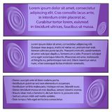 Set of three modern iconography templates for business, text Lorem Ipsum on a purple background stock illustration