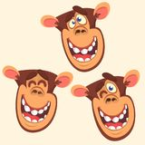 Set of three monkey heads icons.  Vector cartoon illustration in flat style is Stock Photos