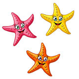 Set of three multi-colored starfishes. Three multi-colored cheerful cute starfishes on a white background. Red, yellow and orange cartoon starfishes Stock Photography