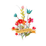 Set of three nature  banners with floral elementCute floral bouquets in vintage style Royalty Free Stock Image