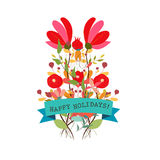 Set of three nature vector banners with floral elementCute floral bouquets in vintage style Royalty Free Stock Image