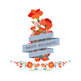 Set of three nature vector banners with floral elementCute floral bouquets in vintage style Stock Image