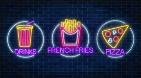 Set of three neon glowing signs of french fries, piece of pizza and soda drink in circle frames. Set of three neon glowing signs of french fries, piece of pizza vector illustration