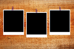 Set of three old blank polaroids frames royalty free stock photos