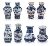 Set of three old vintage vases with Islamic quotes & ornaments Royalty Free Stock Images