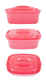 The set of three open pink food containers Royalty Free Stock Photography
