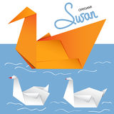 Set of three origami swans Royalty Free Stock Image