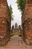 Set of three pagodas behind wall in sukhothai Royalty Free Stock Photography
