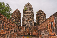 Set of three pagodas in sukhothai. Set of three pagodas  in sukhothai historic park Thailand Stock Photo
