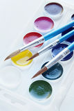 Set of three paintbrushes and watercolor Stock Image