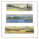 Set of three panoramic landscapes. Oil painting. Stock Photography