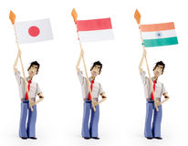 Set of paper men holding flags. Set of three paper men lifting flags. Japan flag, indonesia flag, india flag Royalty Free Stock Photography