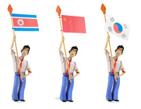 Set of paper men holding asian flags. Set of three paper men lifting flags. North korea, china, south korea Stock Images