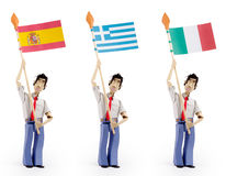 Set of paper men holding european flags. Set of three paper men lifting flags. spain flag, greece flag, italy flag Royalty Free Stock Photography