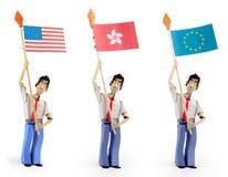 Set of paper men holding flags. Set of three paper men lifting flags. Usa flag, hong kong, european union Stock Photo
