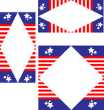 Set of three patriotic borders. Three patriotic American flag borders or frames in abstract shapes Stock Illustration