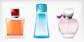 Perfumes isolated vector. Set of three perfume bottles on white background Stock Images