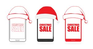 Set of three phones with Santa Claus hat isolated on white background Royalty Free Stock Photo