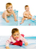Set of three photos. baby girl on a blue blanket. Studio Royalty Free Stock Images