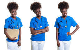 Set three pictures of an african america nurse. On an isolated white background for cut out Stock Images