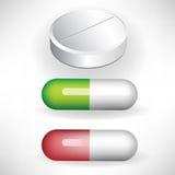 Set of three pills Royalty Free Stock Photo