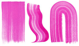 Set of three pink brushstrokes Royalty Free Stock Images