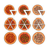 Set of three pizza types, whole and sliced into pieces. Three types of pizza, whole and sliced into pieces, sketch style vector illustration isolated on white vector illustration