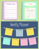 Set of three planners that helps to organize a day. Vector illustration. It can be used daily and weekly Stock Photography