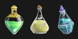 Set of three potion bottles. Set of three fullsize potion bottles for 2d games royalty free illustration