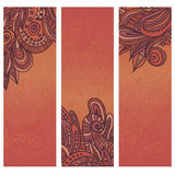Set of three quaint  indian cards Royalty Free Stock Photography