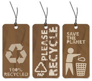 Set of three recycling grunge tags Royalty Free Stock Photo