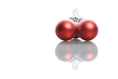 Set of three red christmas balls with reflex Stock Photo