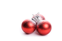 Set of three red christmas balls with reflex Stock Photography