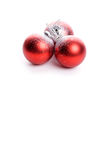 Set of three red christmas balls with reflex Stock Image