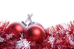Set of three red christmas balls with reflex Stock Images