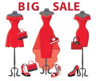 Set of  three red coctail dresses with accessories.Big sale Royalty Free Stock Photo