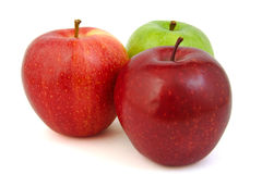 Set of three red and green apples Royalty Free Stock Image