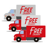 Set Of Three Red And White Delivery Trucks Royalty Free Stock Images