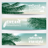 Set of three retro summer web banners Stock Photography