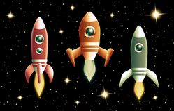 Set of three retro vector rockets Stock Photography