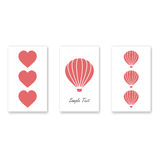 Set of three romantic greating card.  Stock Photos